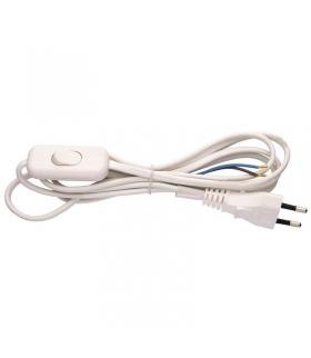Przewód przyłączeniowy PVC 2×0,75mm z wyłącznikiem,2m biały EMOS S08272