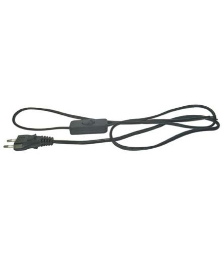 Przewód przyłączeniowy PVC 2×0,75mm z wyłącznikiem,2m czarny EMOS S09272