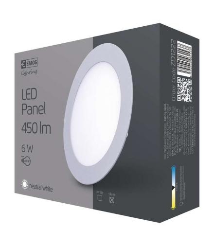 Panel LED wpuszczany okrągły 6W srebrny IP20 neutralna biel EMOS ZD1222