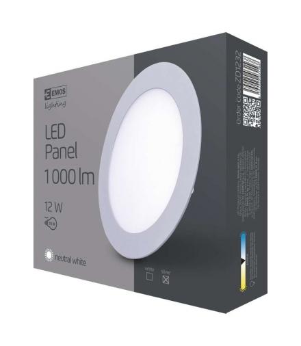 Panel LED wpuszczany okrągły 12W aluminium IP20 neutralna biel EMOS ZD1232