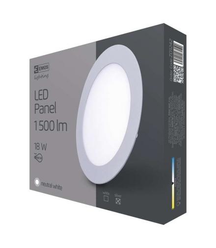 Panel LED wpuszczany okrągły 18W srebrny IP20 neutralna biel EMOS ZD1242