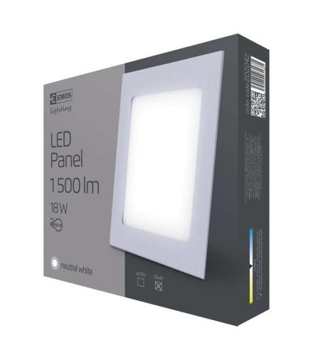 Panel LED wpuszczany kwadratowy 18W IP20 neutralna biel EMOS ZD2242
