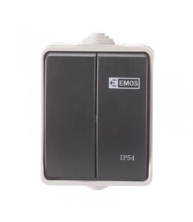 Wyłącznik natynkowy 2P IP54 szaro-czarny EMOS A1398.1