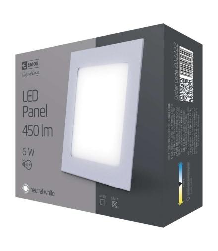 Panel LED wpuszczany kwadratowy 6W IP20 neutralna biel EMOS ZD2222