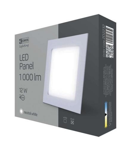 Panel LED wpuszczany kwadratowy 12W IP20 neutralna biel EMOS ZD2232