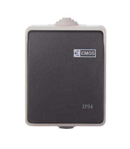 Wyłącznik natynkowy 1P IP54 szaro-czarny EMOS A1398