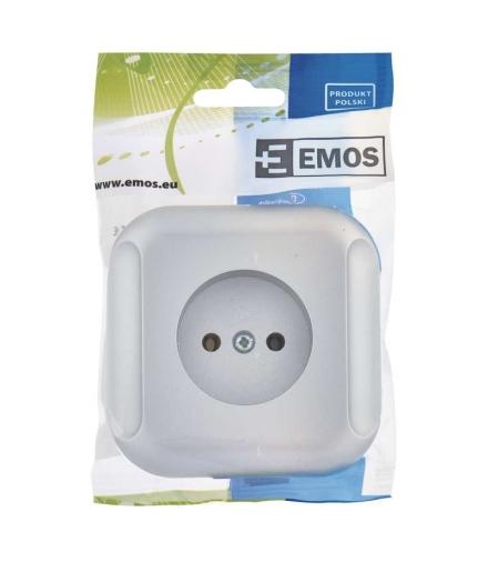 Gniazdo bez uziemienia srebrne EMOS A5411.2