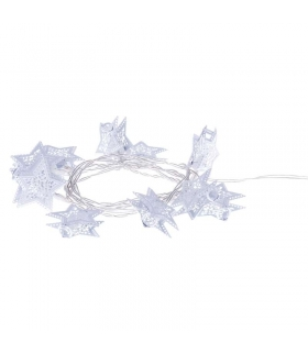 Dekoracje 10 LED 1,35m metal. gwiazdki białe 3x AA WW, timer EMOS ZY1974