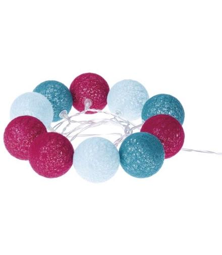Łańcuch 10 LED 1,35m baweł. kule, jesień, 2x AA, WW, timer EMOS ZY1965