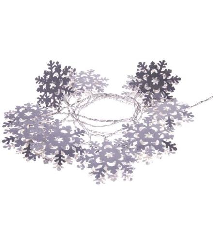Dekoracje 10 LED 1,35m metalowe śnieżynki 3x AA WW, timer EMOS ZY1976