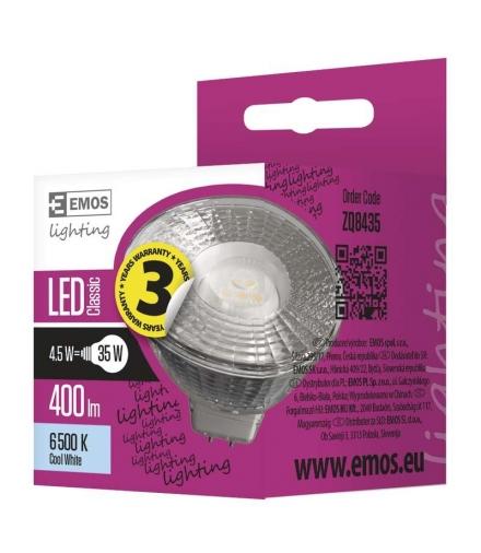 Żarówka LED Classic MR16 4,5W GU5,3 zimna biel EMOS ZQ8435