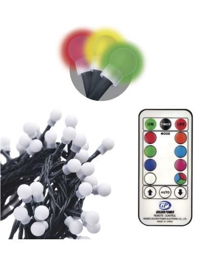 Lampki choinkowe 96 LED kulki 10m IP44 RGB, 64 progr., pilot EMOS ZY2163