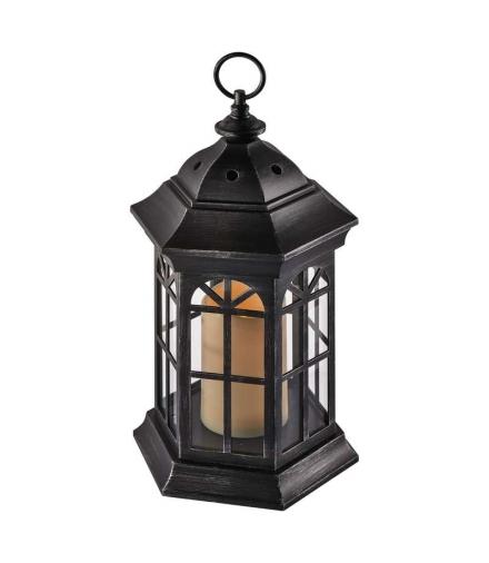 Lampion LED świeczka CZARNY 37cm 3x AAA, VNT, timer EMOS ZY2117