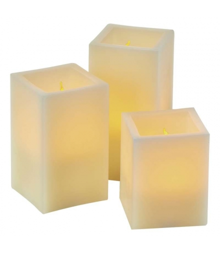 Świeczki LED kwadrat 9x AAA, VNT, timer, pilot, kpl. 3 szt EMOS ZY2142