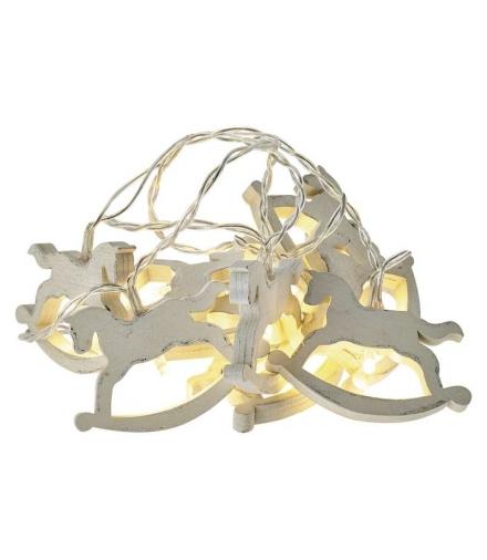 Dekoracje 10 LED 1,35m drewniane koniki 2x AA WW, timer EMOS ZY2063