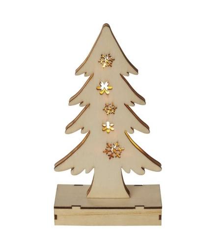 Dekoracje 6 LED drewniana choinka 23cm 2x AA WW, timer EMOS ZY2089