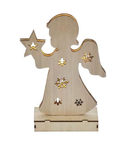Dekoracje 6 LED drewniany anioł 23cm 2x AA WW, timer EMOS ZY2090