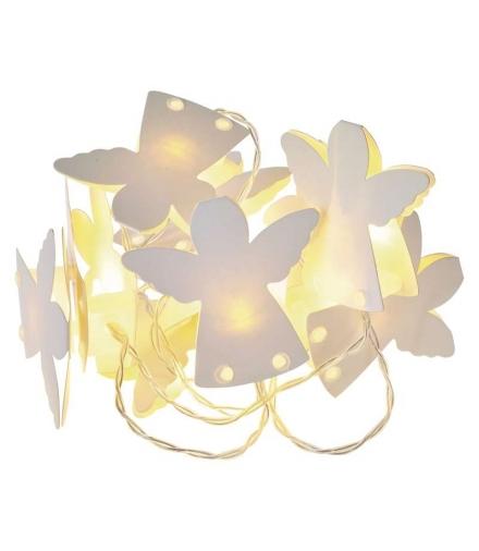 Dekoracje 10 LED 0,9m papierowe aniołki 2x AA WW, timer EMOS ZY2074