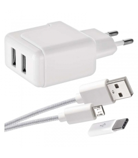 Zasilacz USB SMART 3.1A + przewód micro USB + USB-C EMOS V0119
