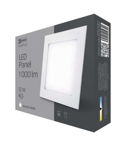 Panel LED wpuszczany kwadratowy 12W IP20 neutralna biel EMOS ZD2132
