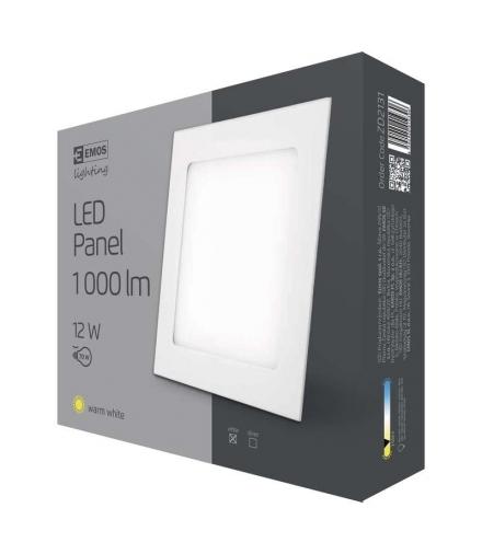 Panel LED wpuszczany kwadratowy 12W IP20 ciepła biel EMOS ZD2131