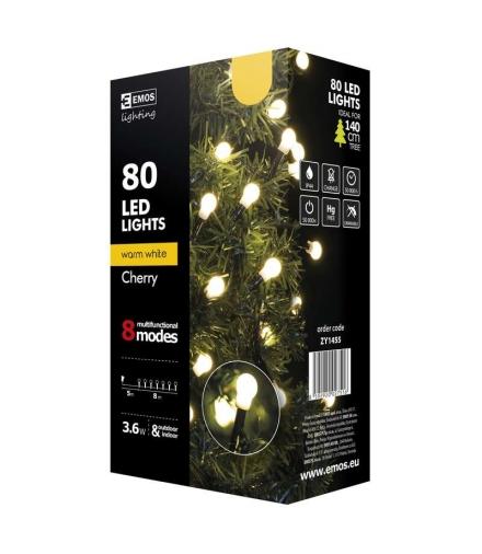 Lampki choinkowe 80 LED kulki 8m WW, 8 programów EMOS ZY1455