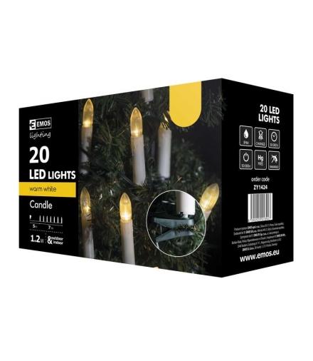 Lampki choinkowe 20 LED świeczki 7m IP44 WW EMOS ZY1424