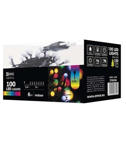 Lampki choinkowe 100 LED kulki 5m IP20 MULTIKOLOR EMOS ZYK0206