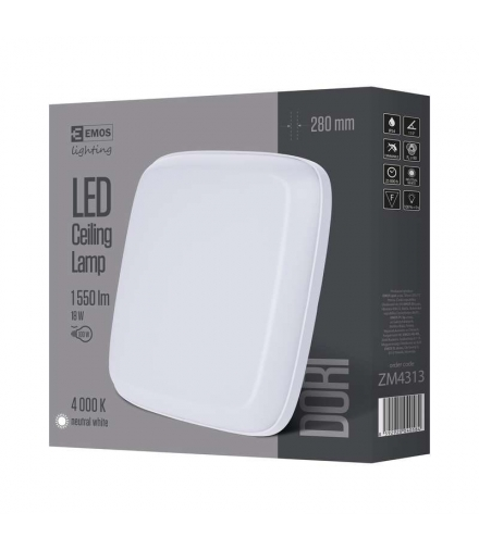 Oprawa LED kwadratowa Dori 18W IP54 neutralna biel EMOS ZM4313