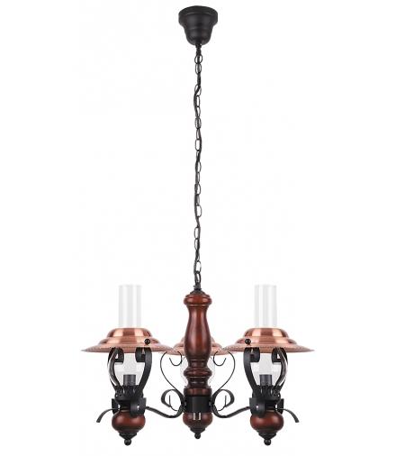Żyrandol Enna E-14 3x40W czarny brązowy orzech Rabalux 7860