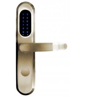 SZYLD ZAMKA ELEKTROMECHANICZNEGO SmartLock ELH-15B9 brass z klawiaturą dotykową, sterowaniem SMS, czytnikiem Mifare, modułem Blu