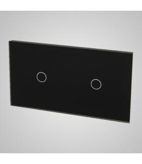 Duży panel podwójny szklany, 2 x łącznik pojedynczy, czarny