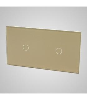 Duży panel podwójny szklany, 2 x łącznik pojedynczy, złoty