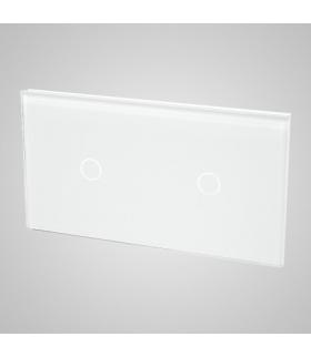 Duży panel podwójny szklany, 2 x łącznik pojedynczy, biały
