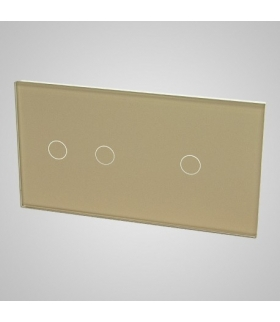 Duży panel podwójny szklany, 1x łącznik pojedynczy 1x łącznik podwójny, złoty