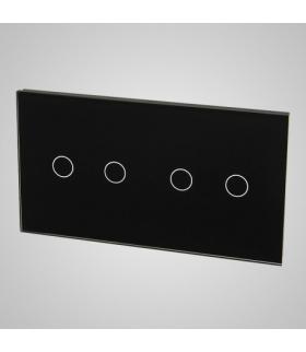 Duży panel podwójny szklany, 2x łącznik podwójny, czarny