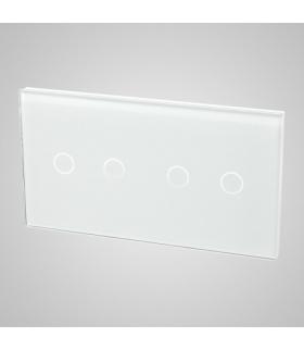 Duży panel podwójny szklany, 2x łącznik podwójny, biały