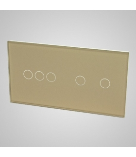 Duży panel podwójny szklany, 1x łącznik potrójny 1x łącznik podwójny, złoty