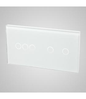 Duży panel podwójny szklany, 1x łącznik potrójny 1x łącznik podwójny, biały