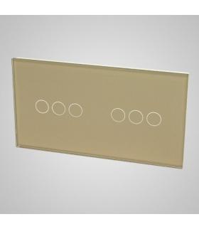 Duży panel podwójny szklany, 2x łącznik potrójny , złoty