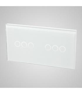 Duży panel podwójny szklany, 2x łącznik potrójny , biały