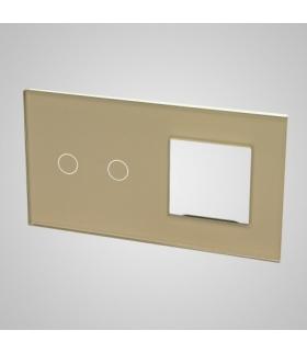 Duży panel podwójny szklany, 1x łącznik podwójny 1x ramka , złoty