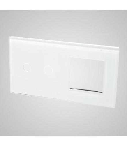 Duży panel podwójny szklany, 1x łącznik podwójny 1x ramka , biały