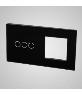 Duży panel podwójny szklany, 1x łącznik potrójny 1x ramka , czarny