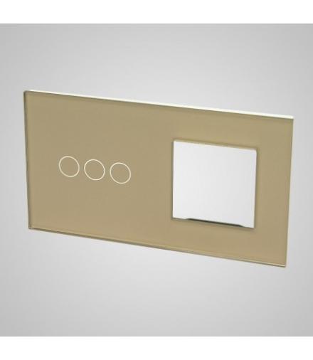 Duży panel podwójny szklany, 1x łącznik potrójny 1x ramka , złoty