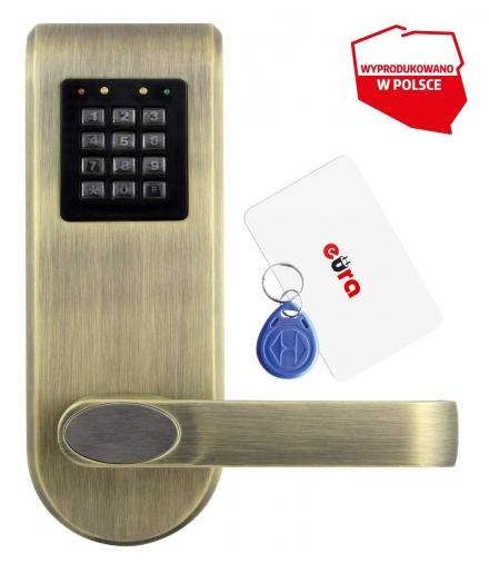 SZYLD Z KONTROLĄ DOSTĘPU EURA ELH-72B9 BRASS z czytnikiem RFID i szyfratorem, uniwersalny rozstaw śrub mocujących
