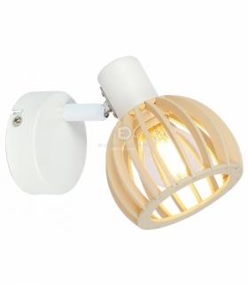 ATARRI LAMPA KINKIET 1X25W E14 BIAŁY+DREWNO Candellux 91-68019