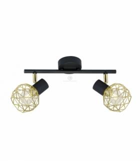 ACROBAT LAMPA SUFITOWA LISTWA 2X40W E14 CZARNY KLOSZ ZŁOTY Candellux 92-66336