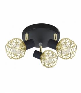 ACROBAT LAMPA SUFITOWA PLAFON 3X40W E14 CZARNY KLOSZ ZŁOTY Candellux 98-66466