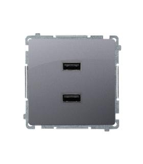 Ładowarka 2 x USB (moduł) 2.1 A, 5V DC, 230V srebrny mat BMC2USB.01/43